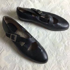 Rockport | Black Leather Cross Strap Mary Janes